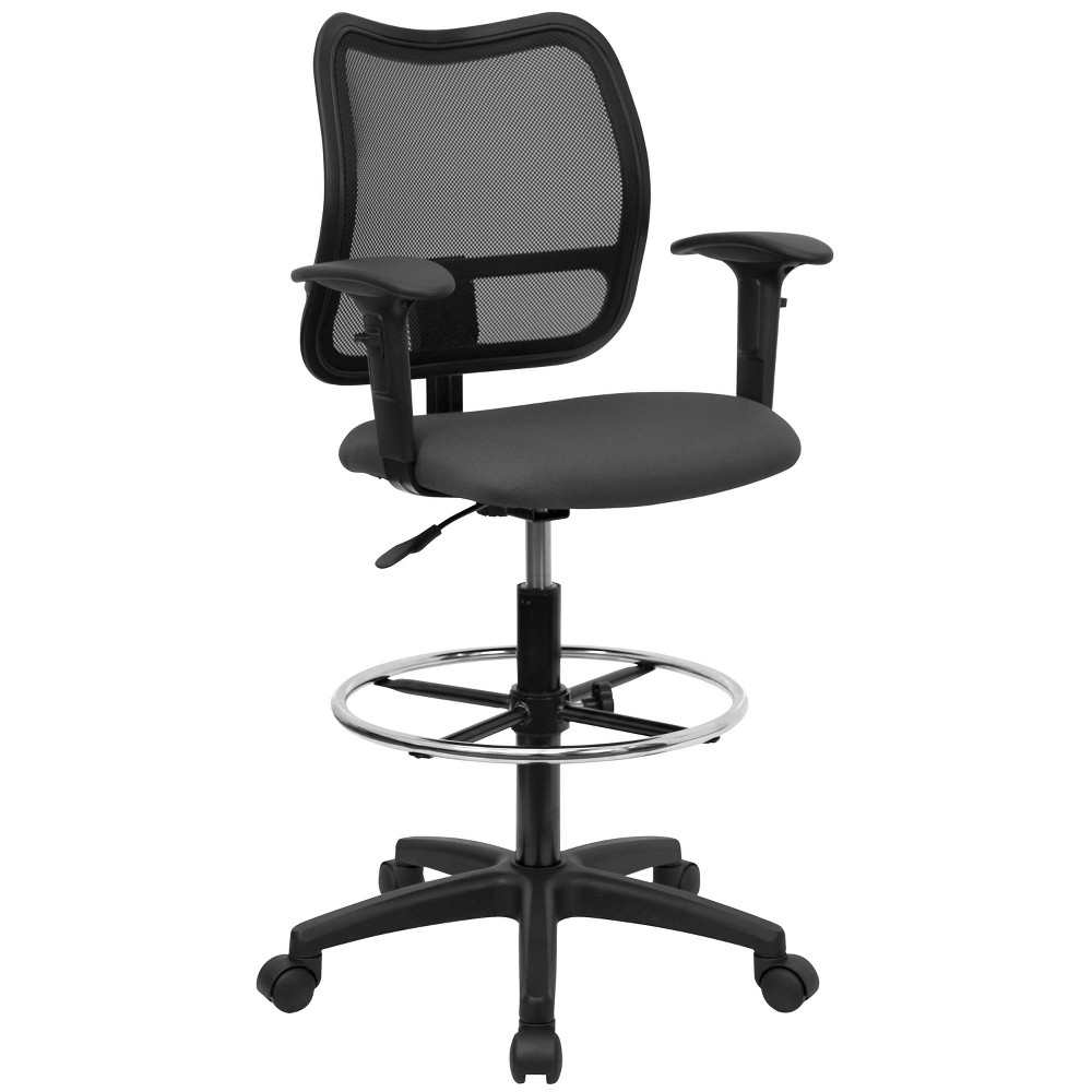 Mid-Back Mesh Drafting Chair Gray - Flash Furniture