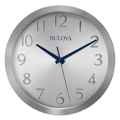 Bulova Clocks C4844 Winston Decorative Aluminum 9 Inch Diameter Quartz Wall Clock with Quiet Sweep, Silver Tone Metal Face, Blue Hands