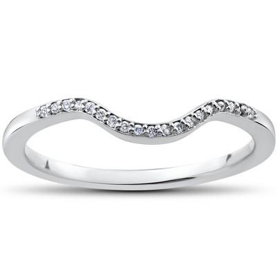 Pompeii3 1/16 ct Lab Created Diamond Aria Wedding Curved Contour Ring