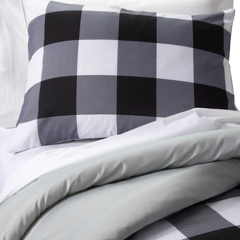 Checkered Buffalo Comforter Set Fullqueen Black White