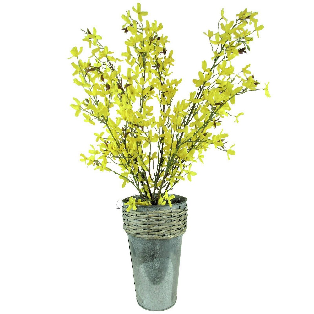 "Image of ""30"""" x 14"""" Artificial Forsythia in Galvanized Pot Yellow - LCG Florals"""