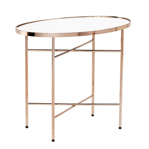 Marnvil Oval Mirrored Side Table Champagne/Mirror - Aiden Lane - image 1 of 4