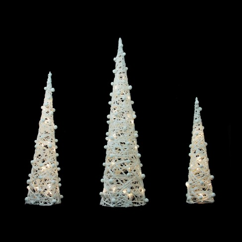 """Northlight Set of 3 Battery Operated White and Silver Glittered LED Lighted Cone Tree Christmas Decoration 39.25"""""""