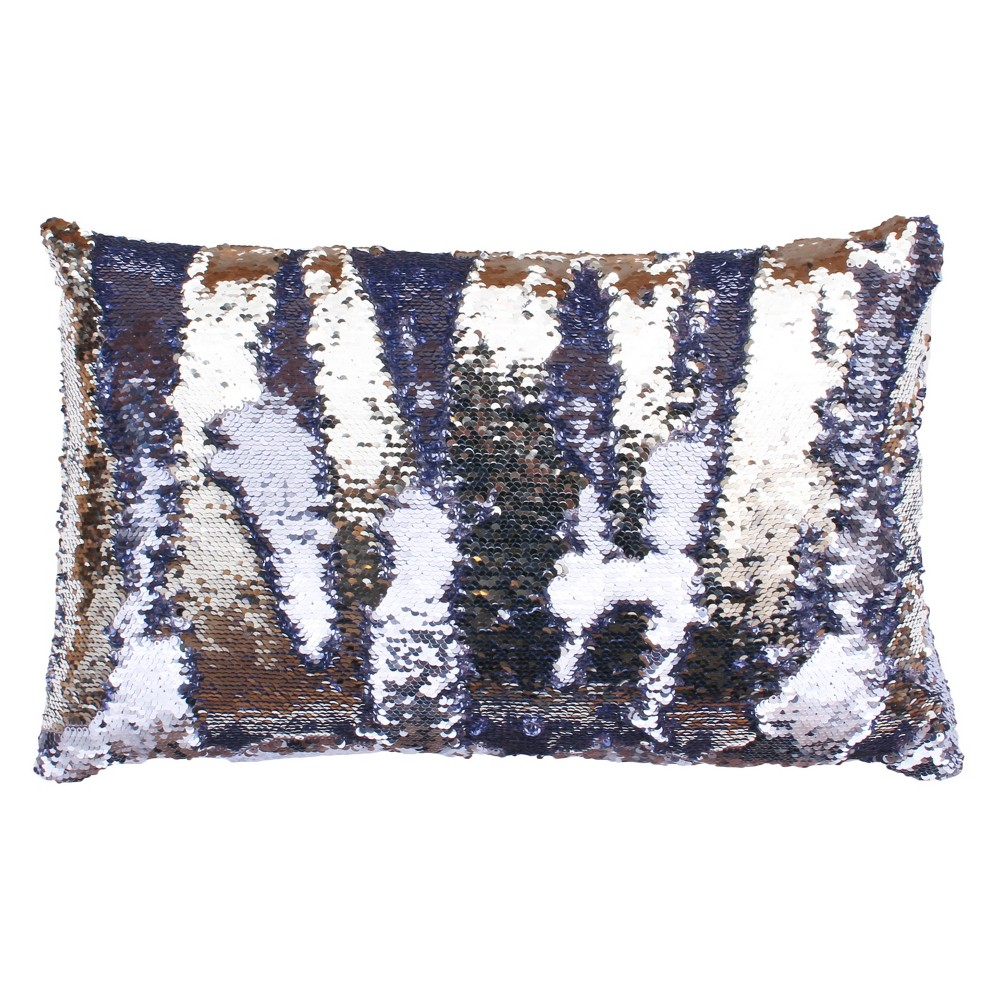 Melody Mermaid Reversible Sequin Oversize Lumbar Throw Pillow Blue - Decor Therapy