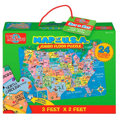 Map of the USA 24pc Floor Puzzle - image 1 of 2