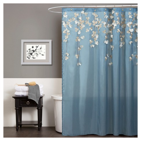 Flower Drops Federal Shower Curtain Blue White