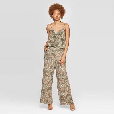Women's Leaf Print Mid-Rise Wide Leg Pants - A New Day™ Olive