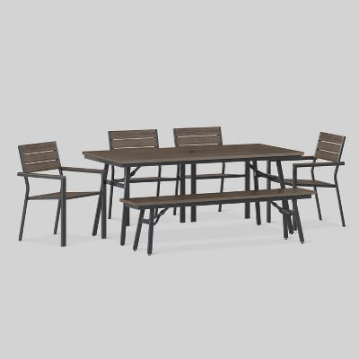 Mantega 6pc Rectangle Metal Patio Dining Set   Black/Brown   Project 62™ :  Target