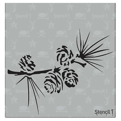 """Stencil1 Pine Branch - Stencil 5.75"""" x 6"""""""