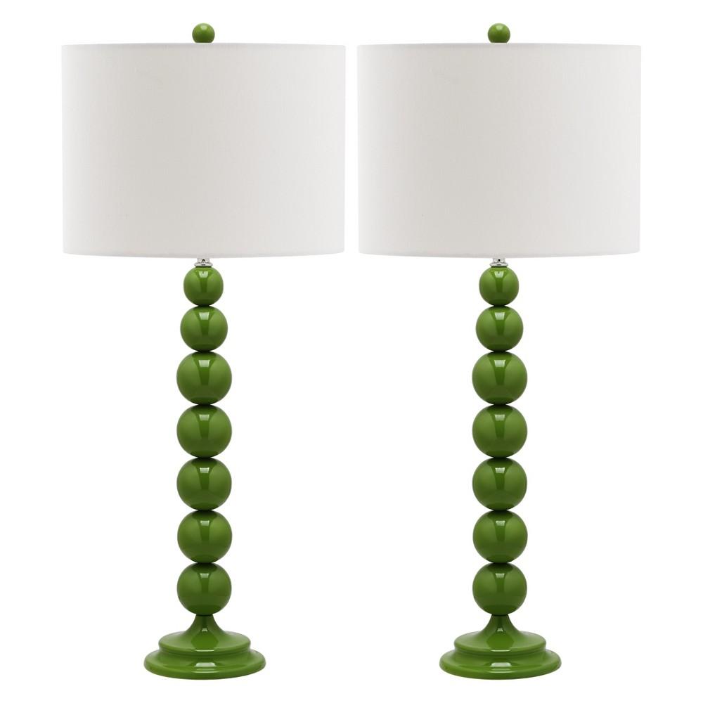 Jenna Stacked Ball Table Lamp Set - Safavieh, Green/White