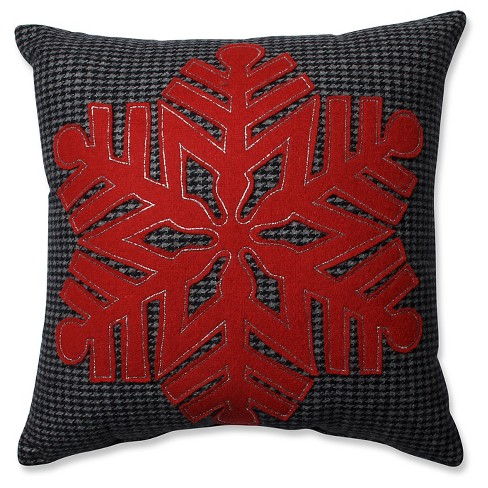 """Black/Red Throw Pillow Snowflake (16""""x16"""") - Pillow Perfect - image 1 of 4"""