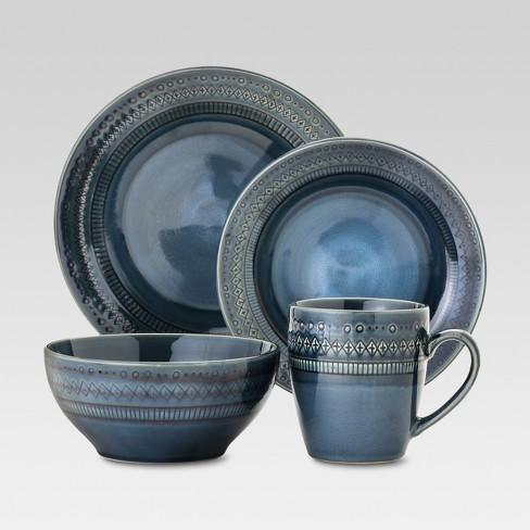 16pc Stoneware Kingsland Dinnerware Set Blue - Threshold™ - image 1 of 1