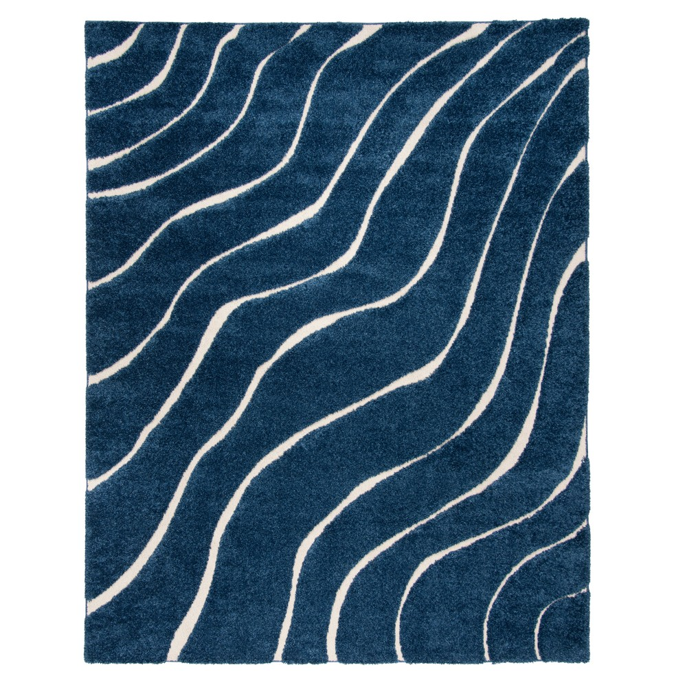 Dark Blue/Cream Wave Loomed Area Rug 8'X10' - Safavieh, Dark Bluencream