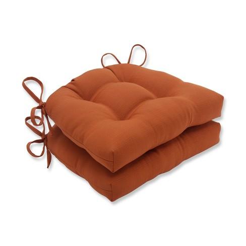 Set of 2 Indoor/Outdoor Solid Cinnabar Reversible Chair Pad Orange - Pillow Perfect - image 1 of 1