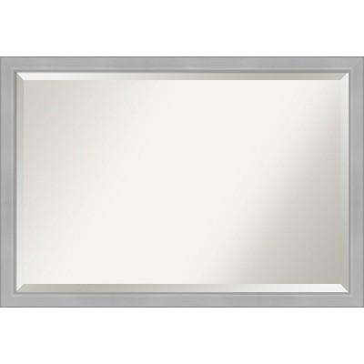 "39"" x 27"" Vista Brushed Framed Bathroom Vanity Wall Mirror Nickel - Amanti Art"