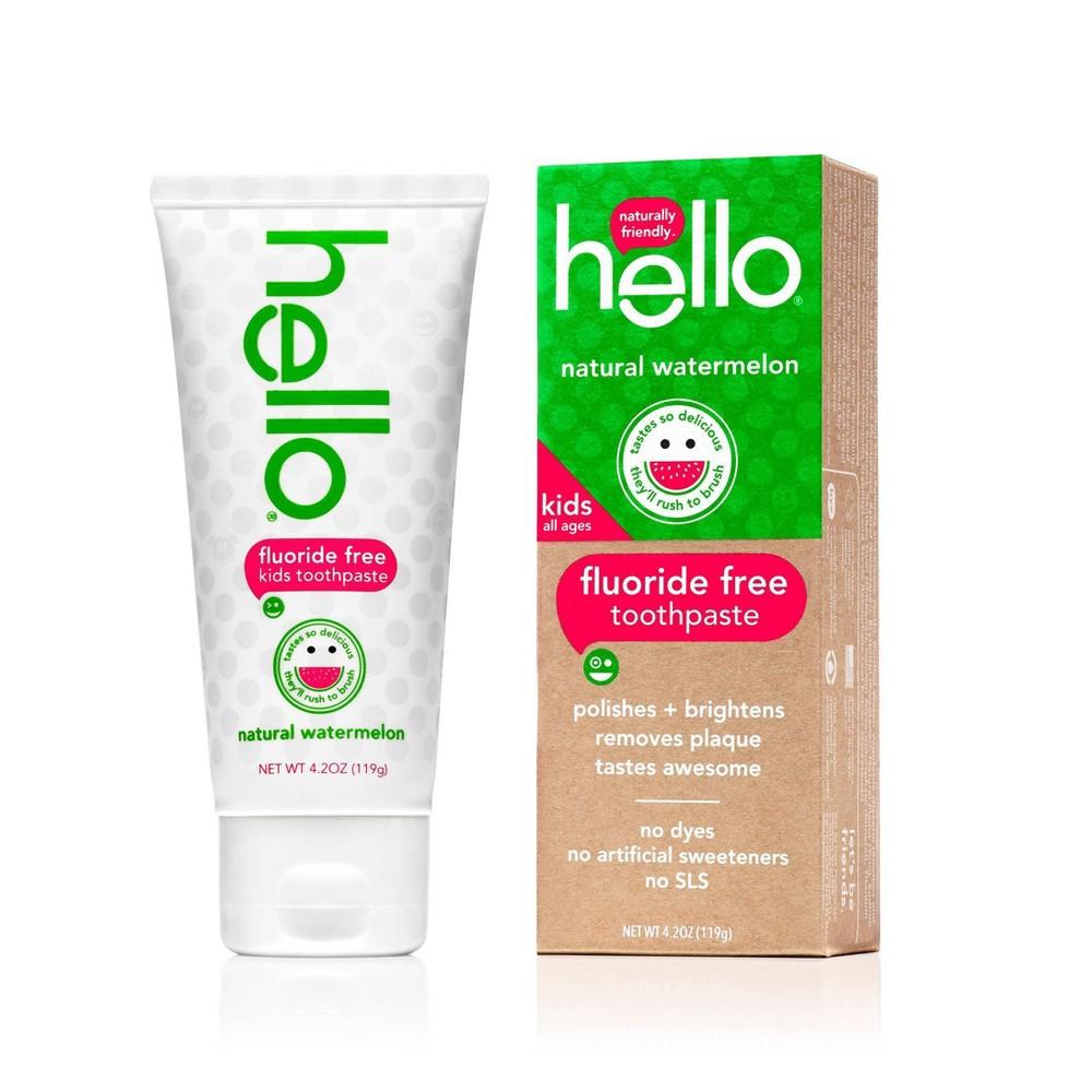 hello Kids Natural Watermelon Fluoride Free Toothpaste, sls Free and Vegan ,4.2oz