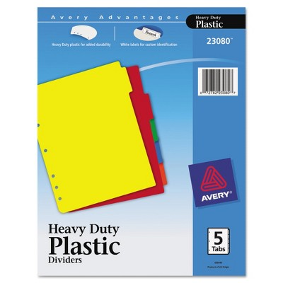 Avery Write-On Heavy-Duty Plastic Tab Dividers with White Labels 5-Tab Letter
