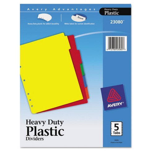 Avery Write-On Heavy-Duty Plastic Tab Dividers with White Labels 5-Tab Letter - image 1 of 4