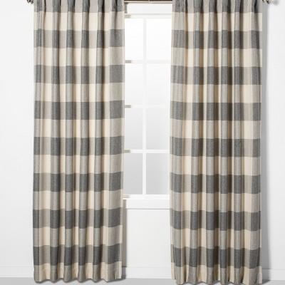 "84""x52"" Larkhall Plaid Blackout Window Curtain Panel Gray/Cream - Eclipse"