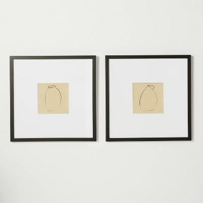 "(Set of 2)18"" x 18"" Vases Framed Under Glass - Threshold™ designed with Studio McGee"