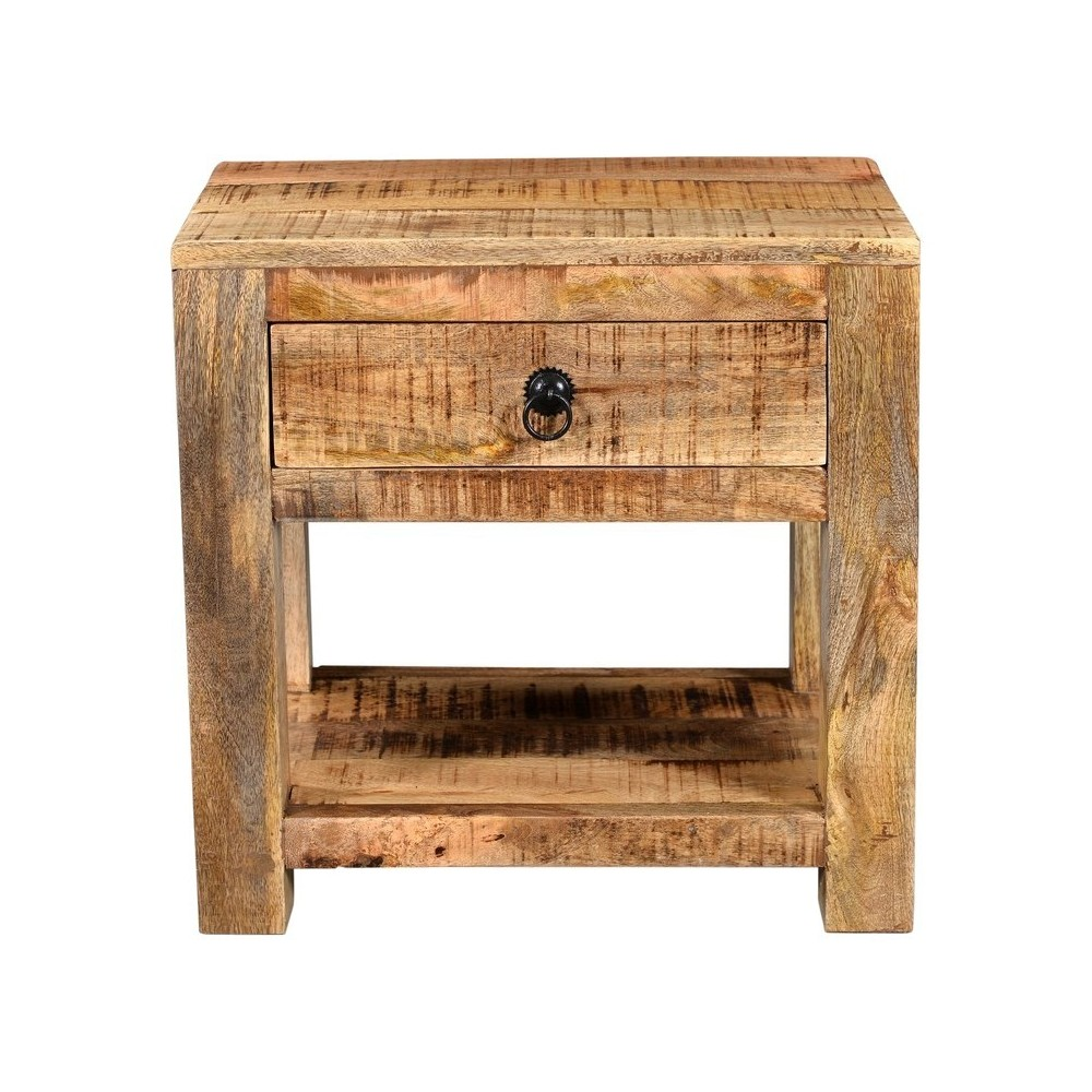 Surat Solid Wood Night Stand with 1 Drawer Brown - Timbergirl