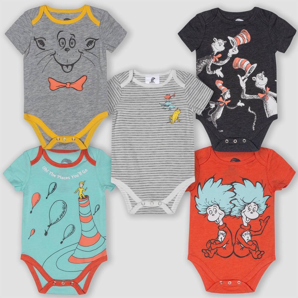 Best Sale Baby Dr Seuss 5pk Short Sleeve Bodysuits 0 3M Infant Unisex Multicolored