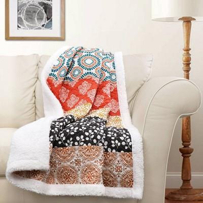 """Lush Décor 50""""x60"""" Bohemian Stripe Throw Blanket Turquoise/Orange"""