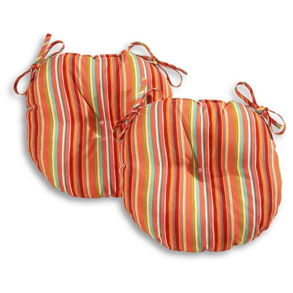 Reviews Set of Two 18 Watermelon Stripe Outdoor Bistro Chair Cushions - Kensington Garden