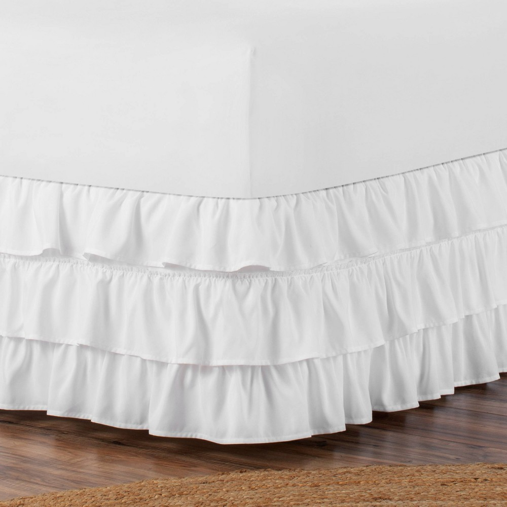 Image of Belles & Whistles 3-Tiered Ruffle Full Bed Skirt White