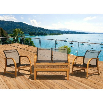 Merveilleux Gables 4 Piece Wood/Sling Patio Conversation Furniture Set