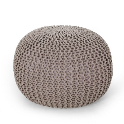 Nahunta Modern Knitted Cotton Round Pouf Brown - Christopher Knight Home