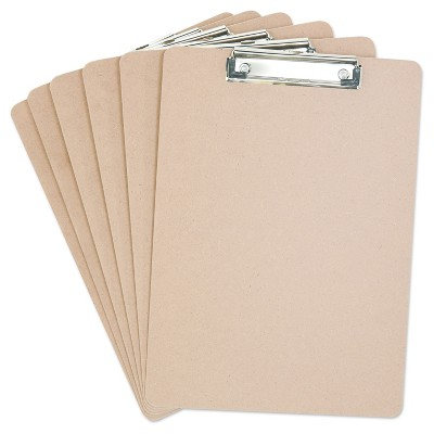 Universal® Hardboard Clipboard, 1/2  Capacity, Holds 8 1/2w x 12h, Brown, 6pk