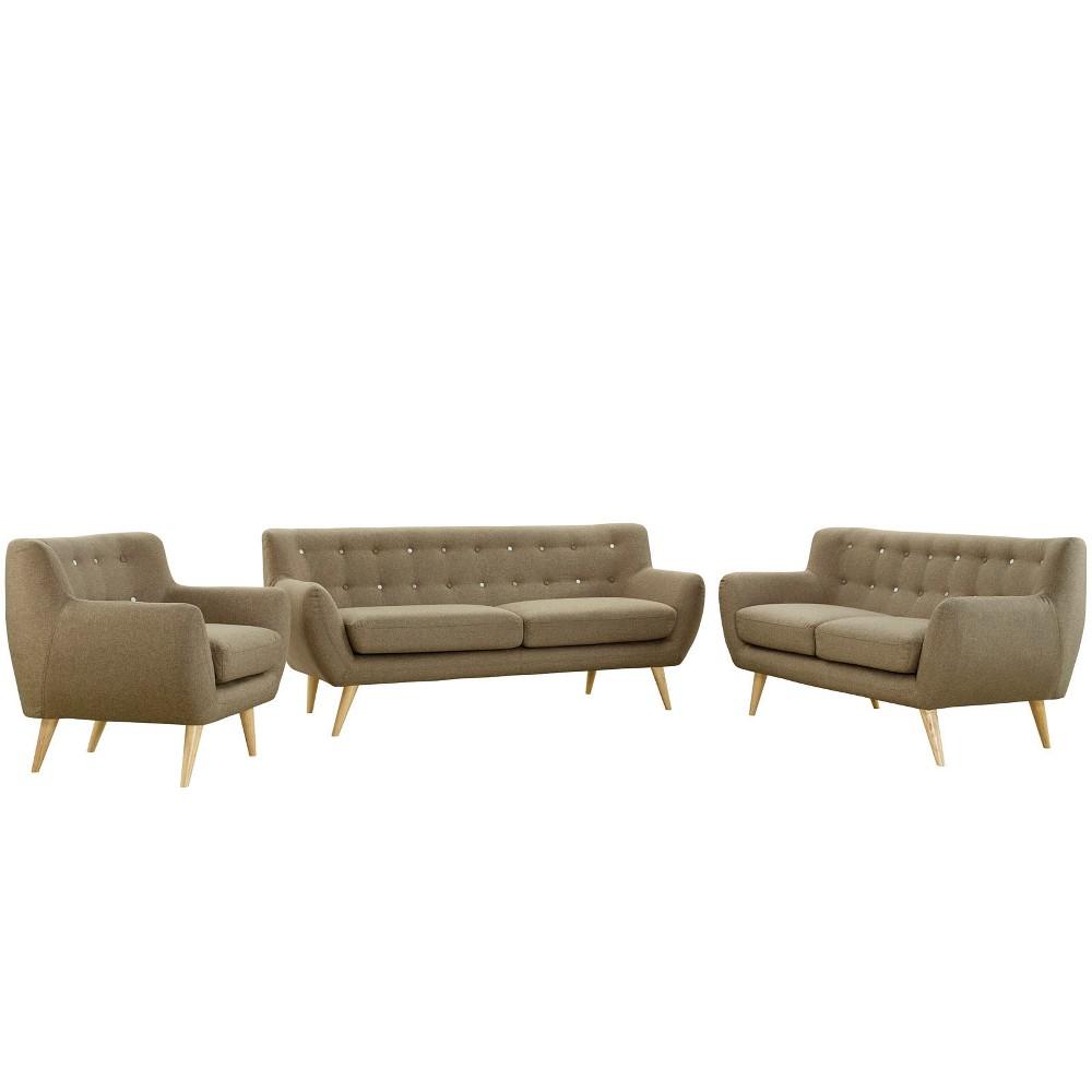 Remark 3pc Living Room Set Brown - Modway