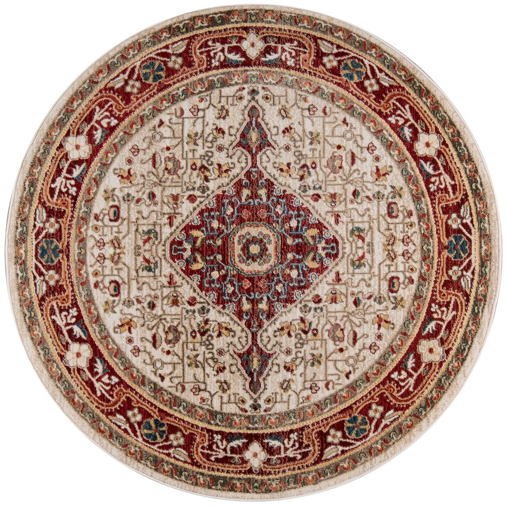 5'X5' Medallion Loomed Round Area Rug Red - Momeni, Green