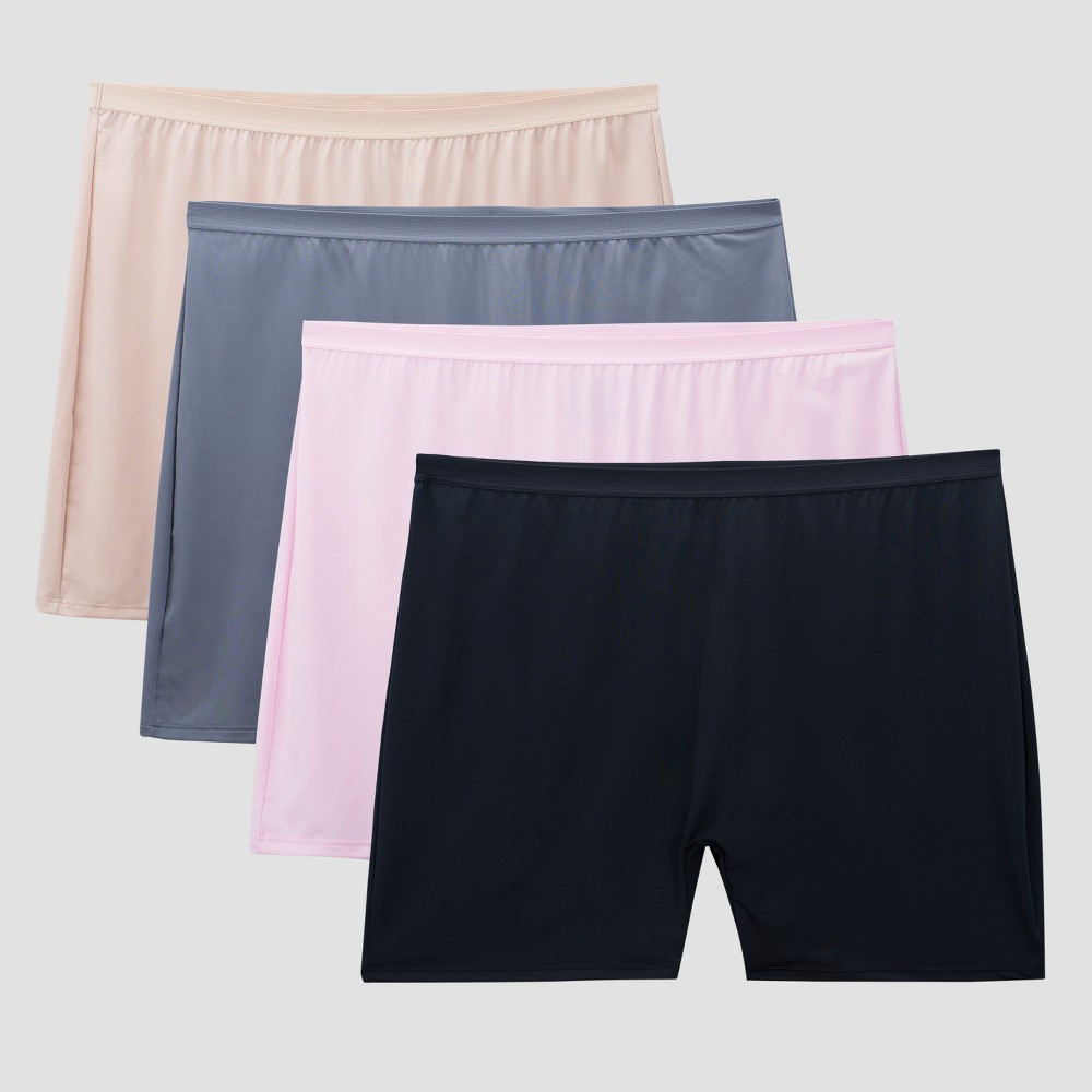 Image of Fit for Me by Fruit of the Loom Women's 4-pk Microfiber Slip Shorts (Colors May Vary) - Size 10, Women's, MultiColored