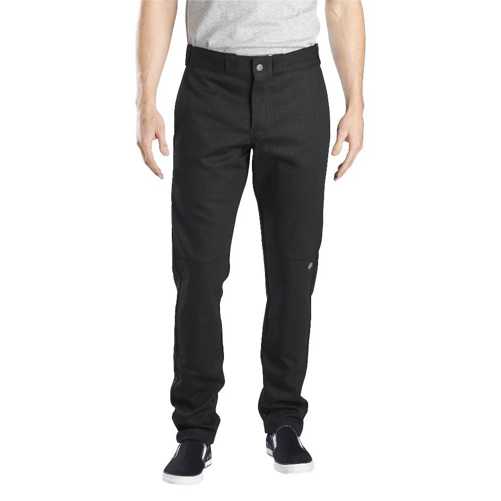 Dickies Men's Skinny Straight Fit Flex Twill Double Knee Pants- Black 30x32