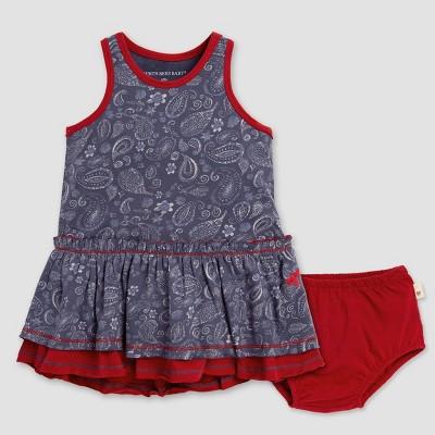 Burt's Bees Baby® Baby Girls' Swirls & Twirls Paisley Tiered Dress & Diaper Cover Set - Navy Blue/Red 6-9M