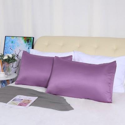 "4 Pcs Queen 20""x30"" Silk Satin Luxury Cooling Pillowcase Purple  - PiccoCasa"
