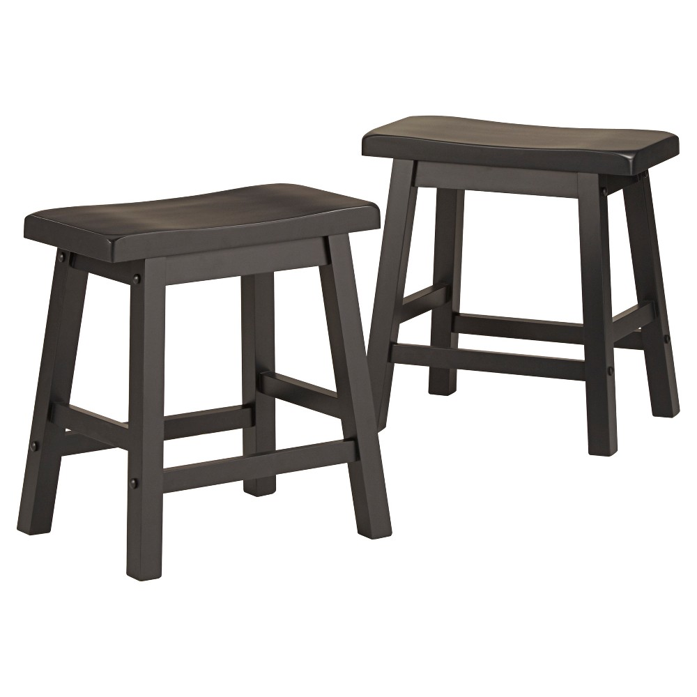 Vinton 18 Saddle Stool (Set of 2) - Midnight Black - Inspire Q