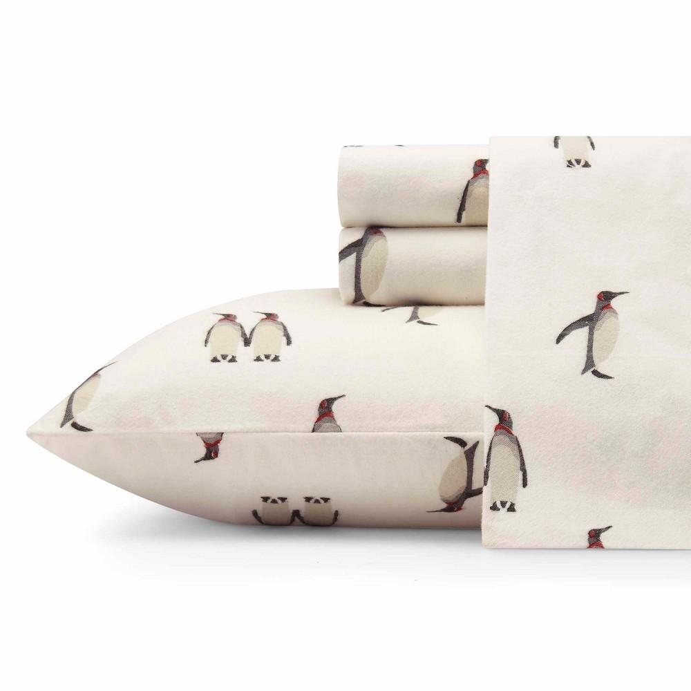 Twin Flannel Sheet Set Gray Penguins - Eddie Bauer