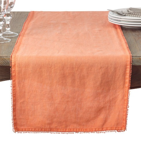 Pantry Peach Solid Table Runner - Saro Lifestyle - image 1 of 2