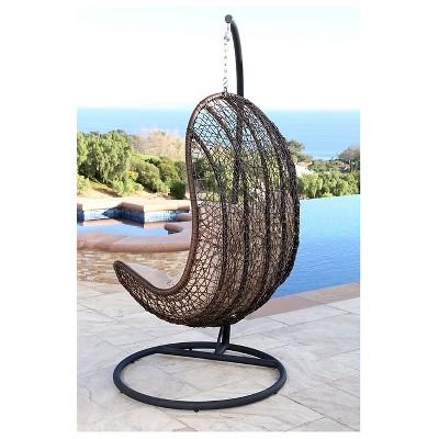 Newport Outdoor Wicker Egg Shaped Swing Chair   Brown   Abbyson Living :  Target
