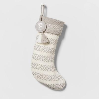 Knit Fair Isle Monogram Christmas Stocking  Neutral - Wondershop™