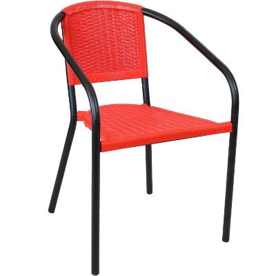 Aderes Steel and Polypropylene Outdoor Arm Chair - Black  and Red - Sunnydaze Decor