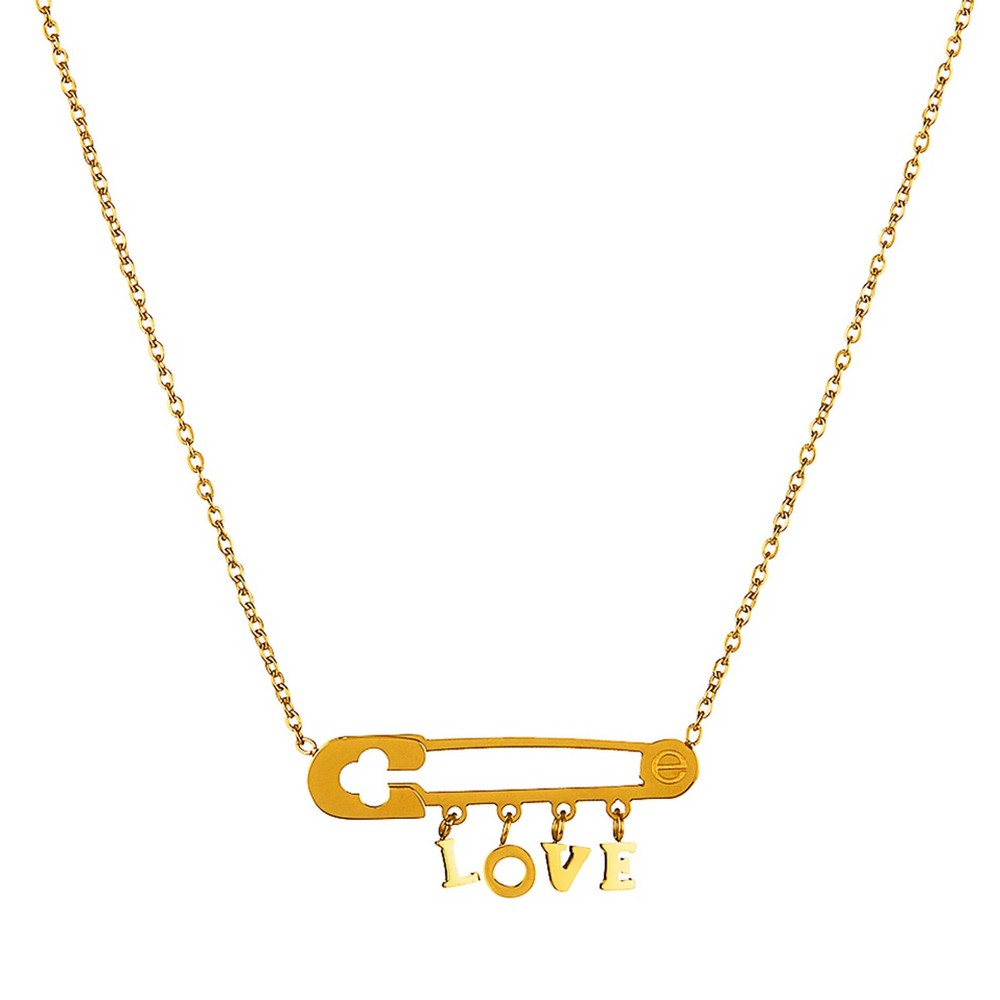 Elya 'love' Safety Pin Pendant Necklace - Gold (18)
