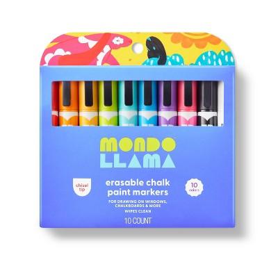 10ct Erasable Chalk Paint Markers Chisel Tip - Mondo Llama™