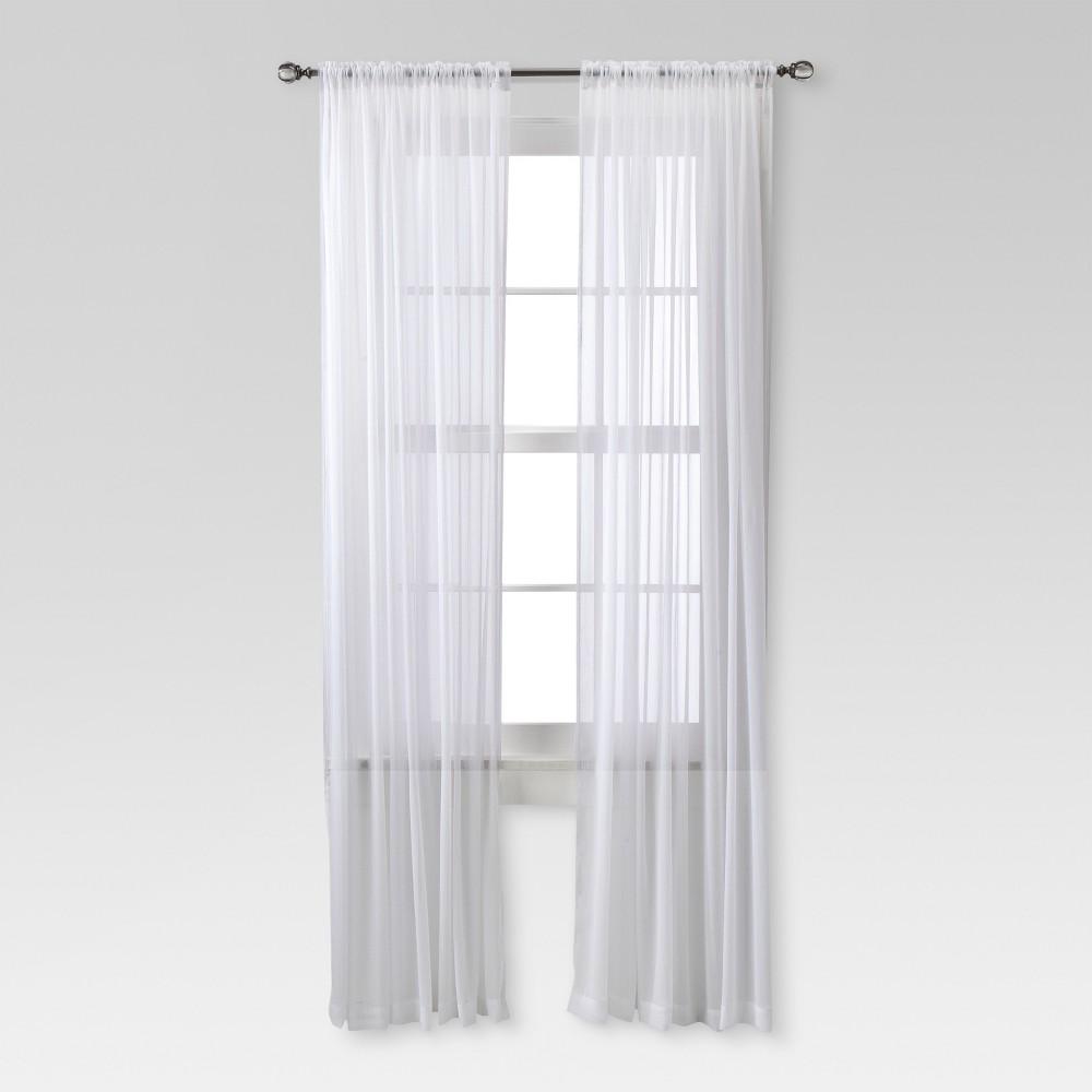 Image of Chiffon Sheer Curtain Panel White - Threshold