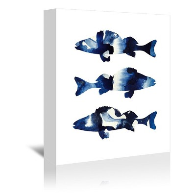Americanflat Navy Fish by Lisa Nohren Wrapped Canvas