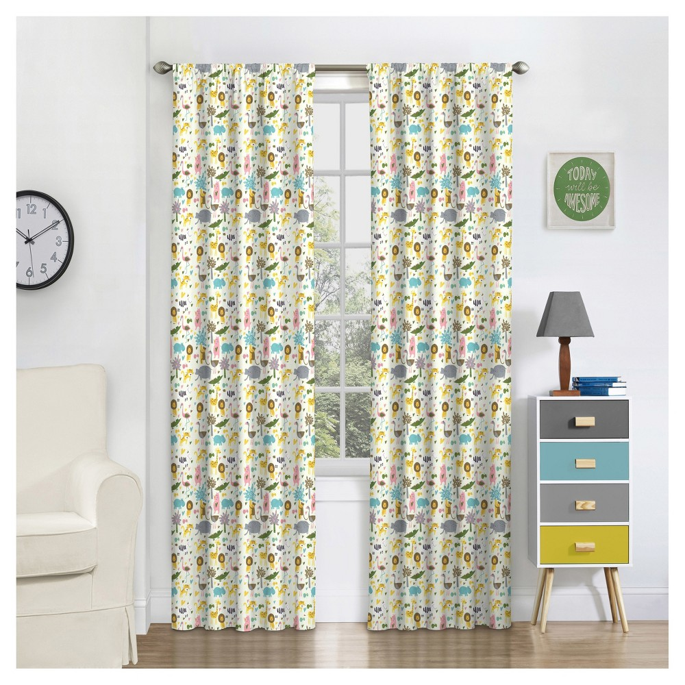 """Image of """"Jungle Party Thermaback Blackout Curtain (84""""""""x42"""""""") - Eclipse MyScene, Multicolored"""""""