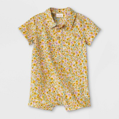 Baby Boys' Floral Woven Romper - Cat & Jack™ Yellow 6-9M